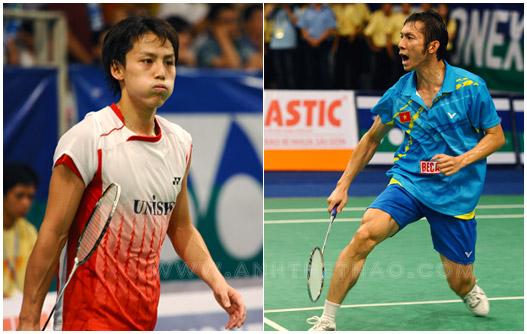 Tiến Minh và tay vợt người Nhật Bản Takuma Ueda
