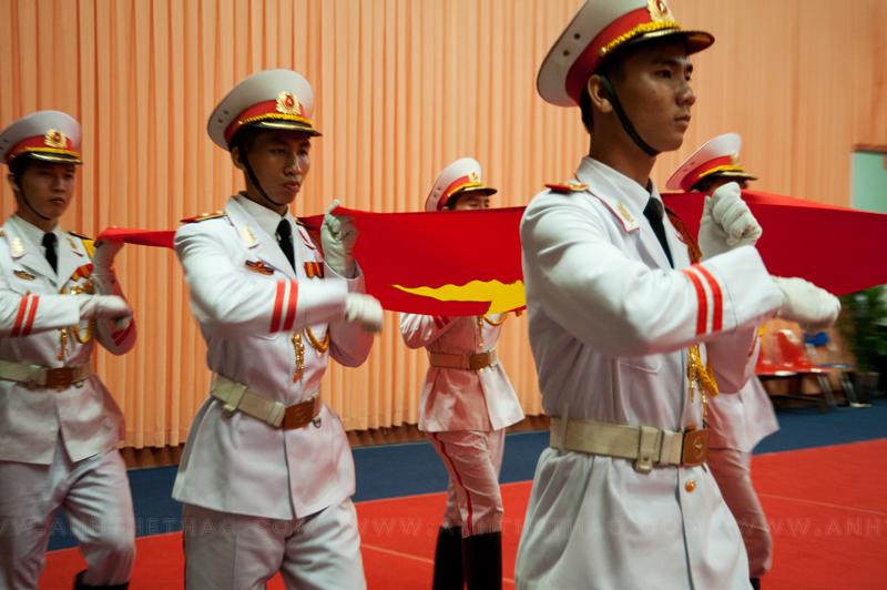 Chuẩn bị cho nghi thức chào cờ