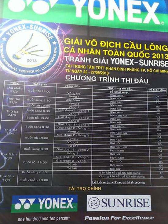Lịch thi đấu giải cầu lông cá nhân toàn quốc 2013