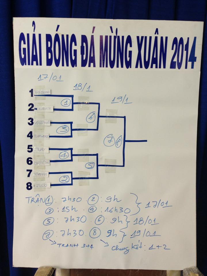 Lịch thi đấu giải bóng đá mừng Xuân Giáp Ngọ 2014