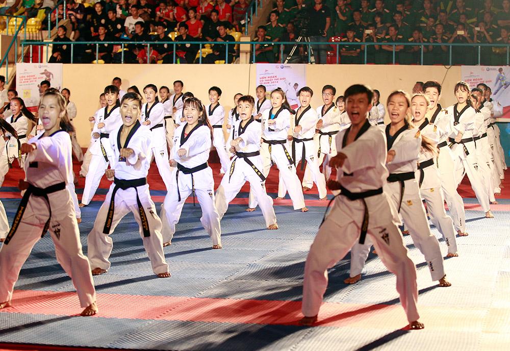 Màn trình diễn Taekwondo thu hút nhiều người xem
