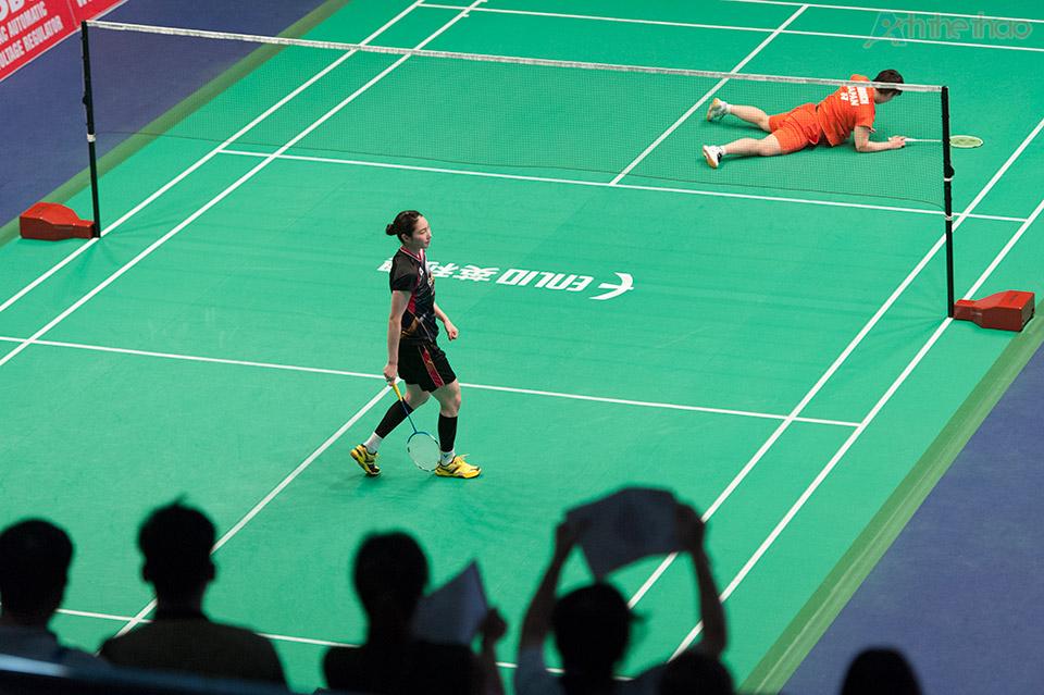 Một pha thắng điểm của tay vợt Hàn Quốc Sung Ji Hyun