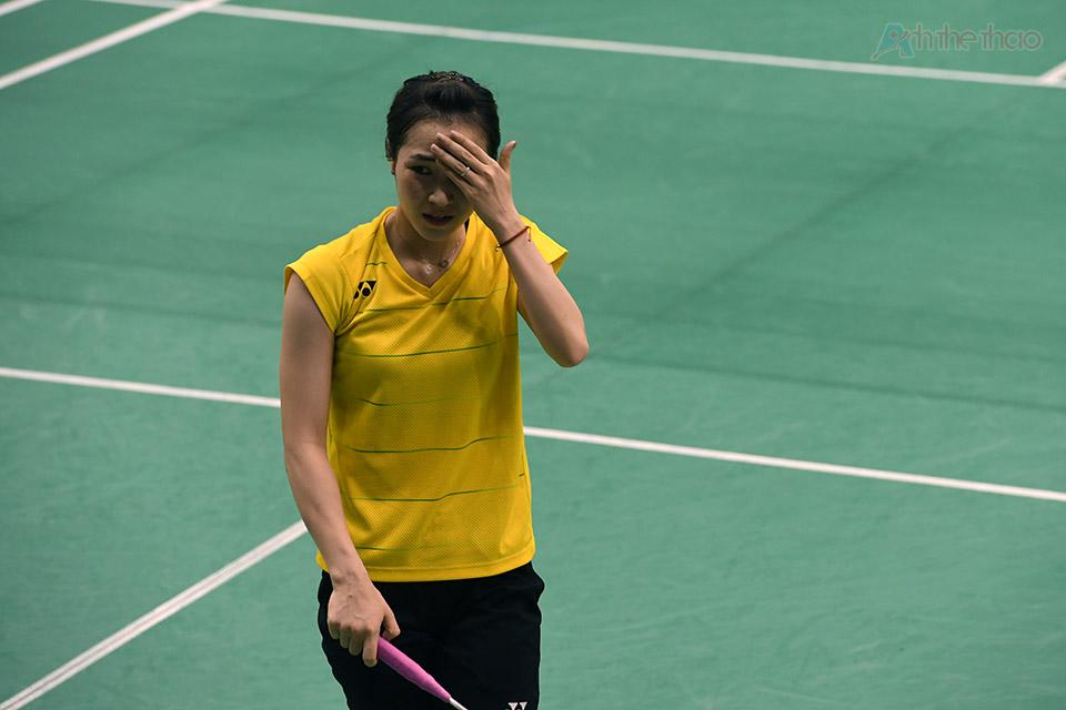 Dù thi đấu trên cơ đối phương nhưng Trang luôn tỏ ra căng thẳng