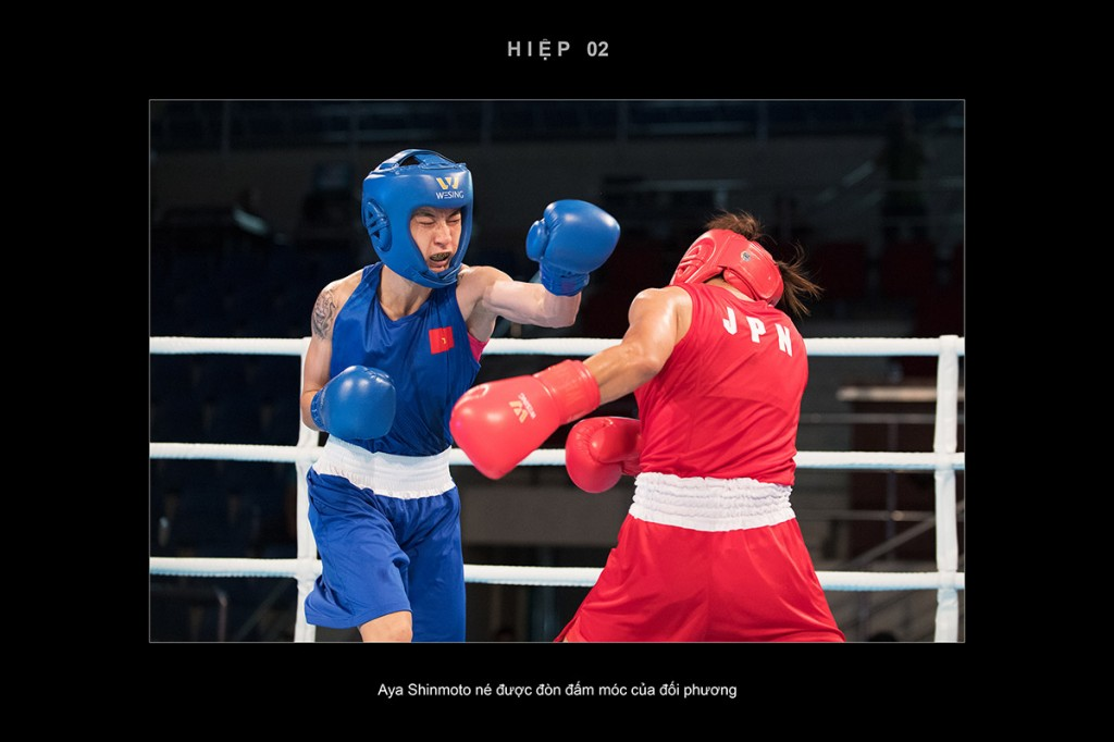 Aya Shinmoto né được đòn đấm móc của đối phương